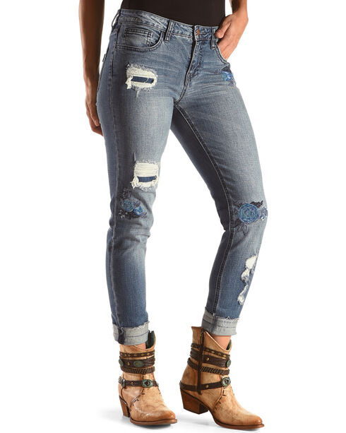 Wrangler Women's Floral Embroidery Distressed Jeans - Skinny, Indigo, hi-res