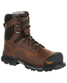 Georgia Boot Men's Rumbler Waterproof Work Boots - Composite Toe, Black/brown, hi-res