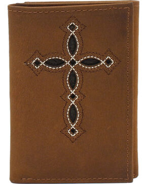 Ariat Trifold Wallet with Pierced Cross, Medium Brown, hi-res