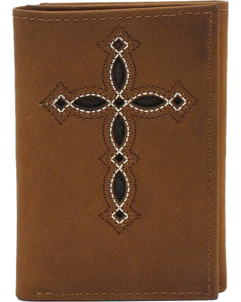 M&F Western Trifold Wallet with Pierced Cross, Medium Brown, hi-res