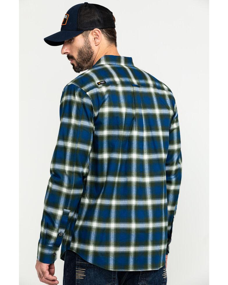 Hawx Men's Blue Lineman Plaid Stretch Flannel Long Sleeve Work Shirt , Blue, hi-res