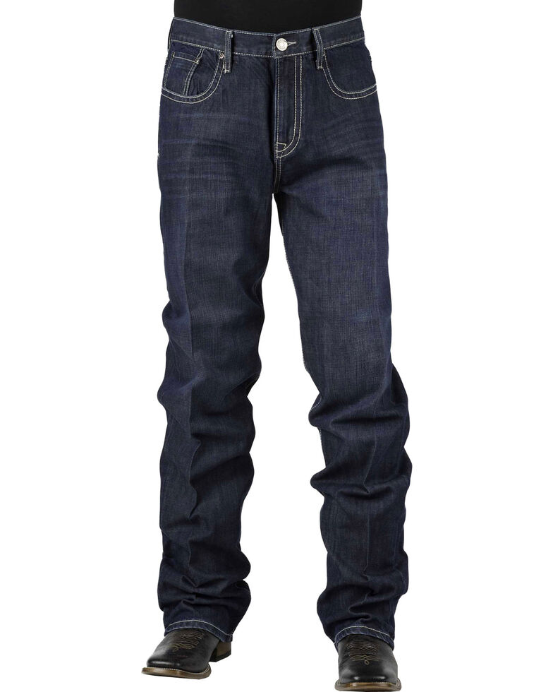 Stetson 1520 Classic Fit With Embroidery Jeans - Boot Cut - Big and Tall, Denim, hi-res