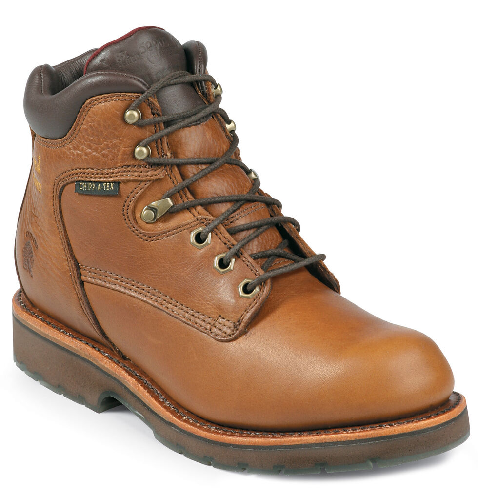 "Chippewa Waterproof 6"" Lace-Up Work Boots - Steel Toe, Tan, hi-res"