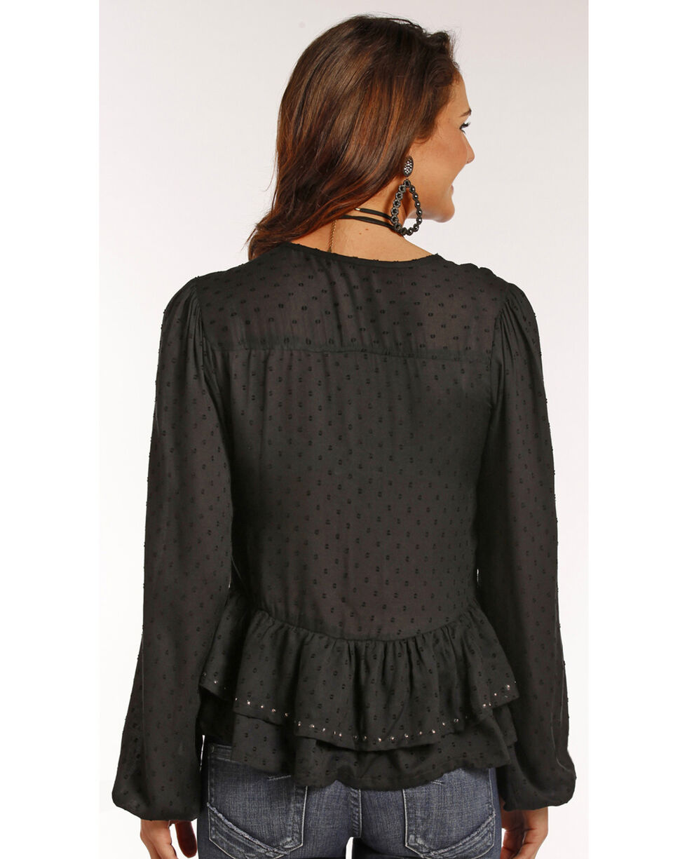 Rock & Roll Cowgirl Women's Studded Clip Dot Blouse, Black, hi-res