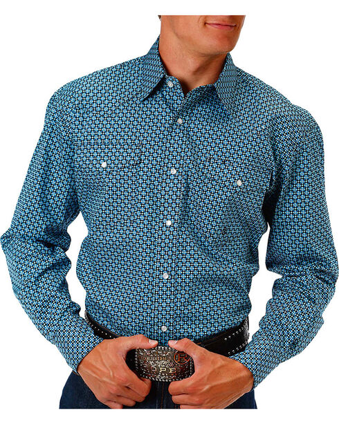 Roper Men's Sundown Blue Geo Print Long Sleeve Snap Shirt, Blue, hi-res