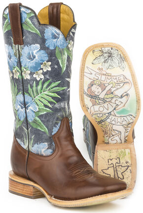 Tin Haul Blue Hawaii Cowboy Boots - Wide Square Toe , Brown, hi-res