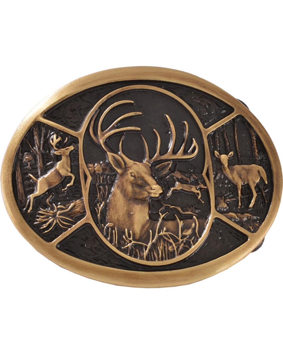 Montana Silversmiths Brass Deer Belt Buckle, Silver, hi-res