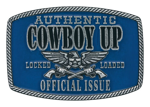 Montana Silversmiths Men's Blue Cowboy Up Official Issue Buckle , Silver, hi-res