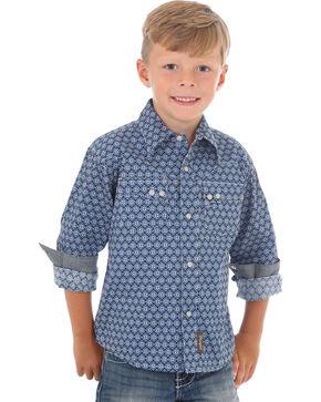 Wrangler Boys' Blue Printed Retro Long Sleeve Shirt , Blue, hi-res