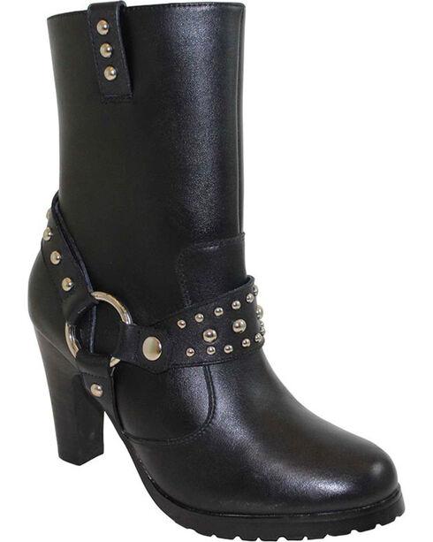 Ad Tec Women's Side Zip Motorcycle Boots - Round Toe, Black, hi-res