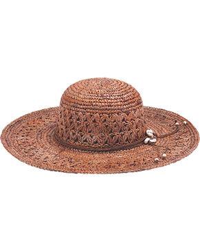"Peter Grimm Bohemme 4 1/2"" Puka Shell Dark Brown Raffia Straw Sun Hat, Brown, hi-res"