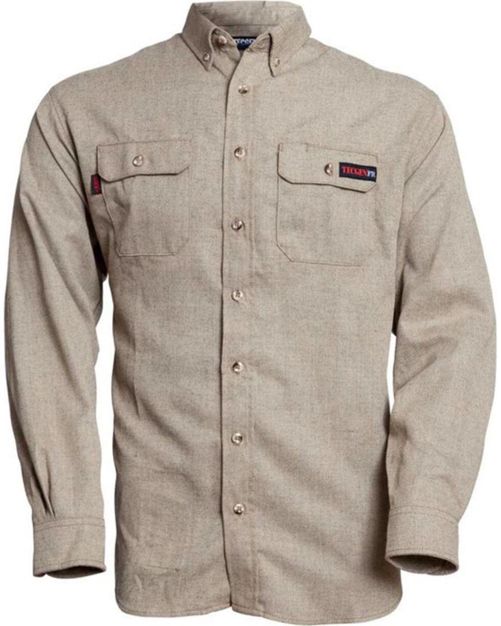 Tecgen Men's FR Deluxe Work Shirt - Big , Tan, hi-res