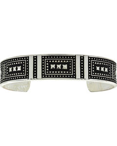 Montana Silversmiths Silver and Black Coded Cuff Bracelet, Silver, hi-res