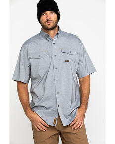 Ariat Men's Grey Rebar Made Tough Durastretch Vent Short Sleeve Work Shirt - Big , Heather Grey, hi-res