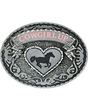 Western Express Women's Silver Cowgirl Up Belt Buckle , Silver, hi-res