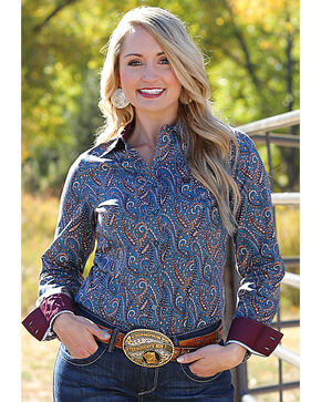 Cinch Women's Multi Paisley Print Long Sleeve Shirt , Multi, hi-res