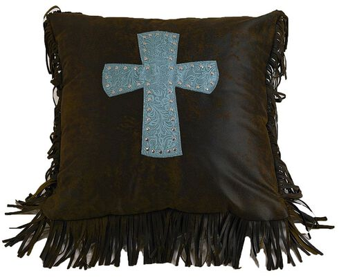 HiEnd Accents Cheyenne Turquoise  Cross Pillow, Multi, hi-res