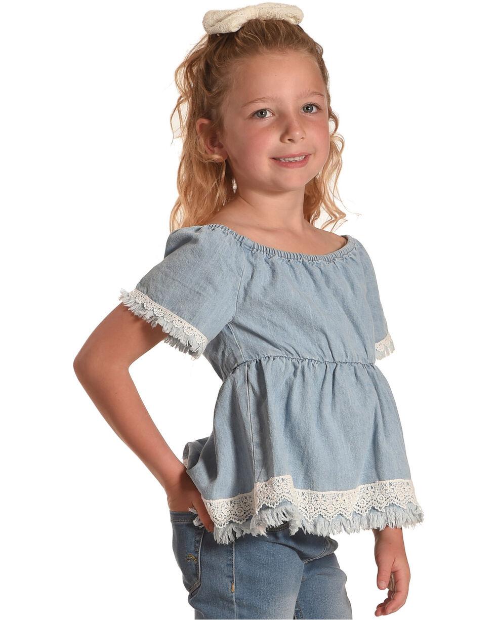 Shyanne Girls' Denim Short Sleeve Lace Trim Top, Blue, hi-res