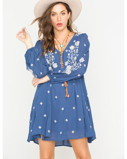 MI. OH. MI. Women's Long Sleeve Embroidered Dress, Navy, hi-res