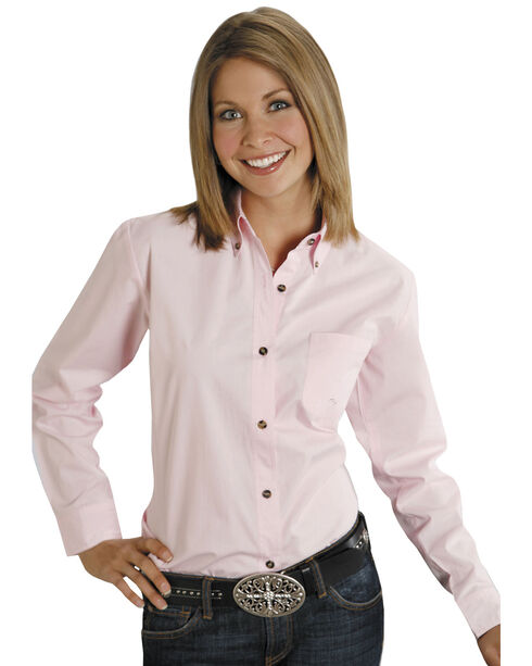 Roper Women's Amarillo Solid Button-Down Poplin Shirt, Pink, hi-res