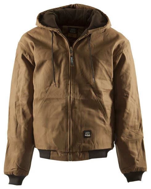 Berne Duck Original Hooded Jacket, Brown, hi-res