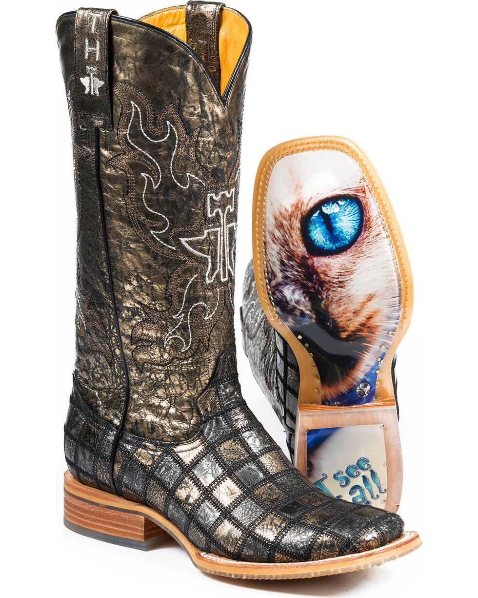 Tin Haul Women's Meow with Siamese Sole Cowgirl Boots - Square Toe, Grey, hi-res