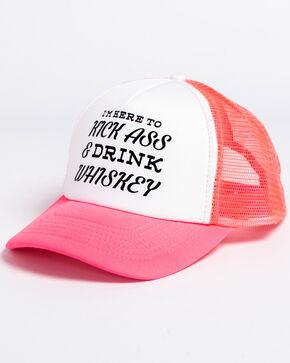 Shyanne Women's Kick Ass & Drink Whiskey Trucker Cap, Pink, hi-res