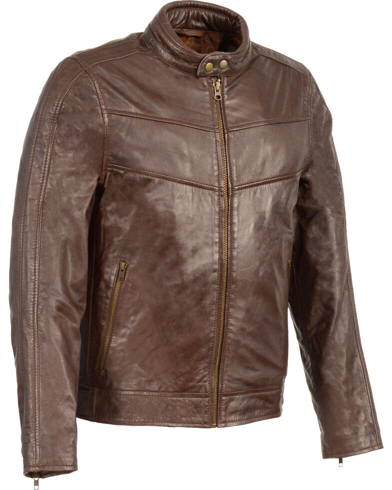Milwaukee Leather Men's Stand Up Collar Leather Jacket - 4X Big , Brown, hi-res