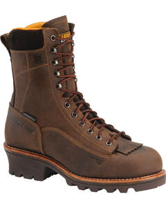 """Carolina Men's Brown 8"""" Crazy Horse Waterproof Lace-to-Toe Logger Boots - Round Toe, Brown, hi-res"""