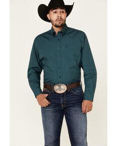 Cinch Men's Modern Fit Teal Geo Print Long Sleeve Western Shirt , Teal, hi-res