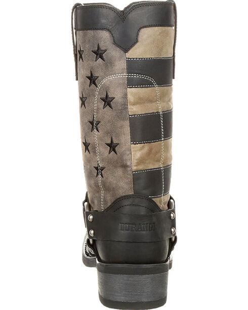 Durango Men's Black Patriotic Faded Flag Motorcycle Boots - Square Toe , Black, hi-res
