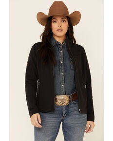 Ariat Women's Black Agile Logo Zip-Up Softshell Jacket , Black, hi-res