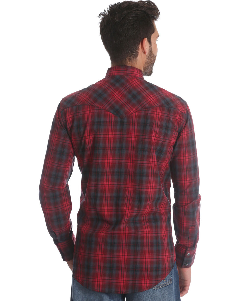 Wrangler Men's Red Retro Two Pocket Plaid Shirt , Red, hi-res