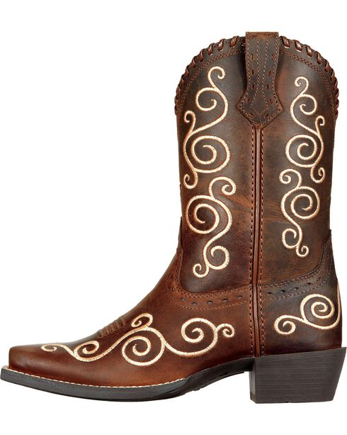 Ariat Youth Girls' Shelleen Cowgirl Boots - Snip Toe, Distressed, hi-res