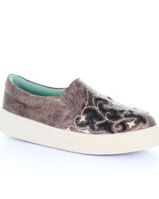 Corral Women's Brown Inlay & Embroidered Sneakers, Black/brown, hi-res
