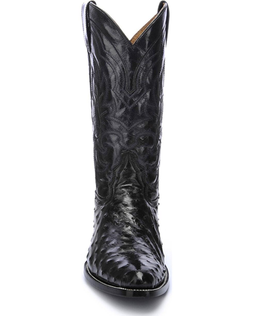 Circle G Men's Full Quill Ostrich Cowboy Boots - Medium Toe , Black, hi-res