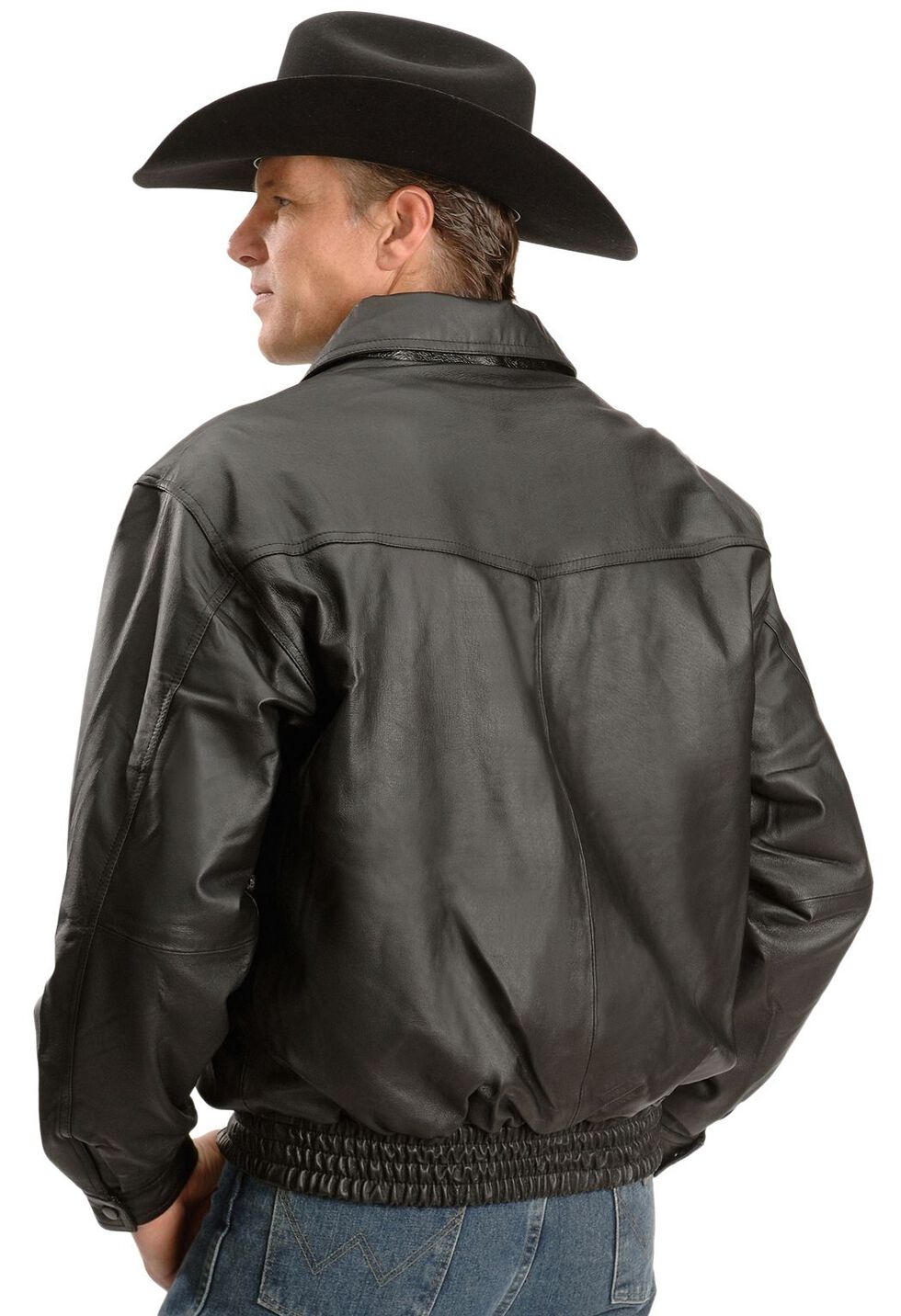 Vintage Leather Black Leather Bomber Jacket, Black, hi-res