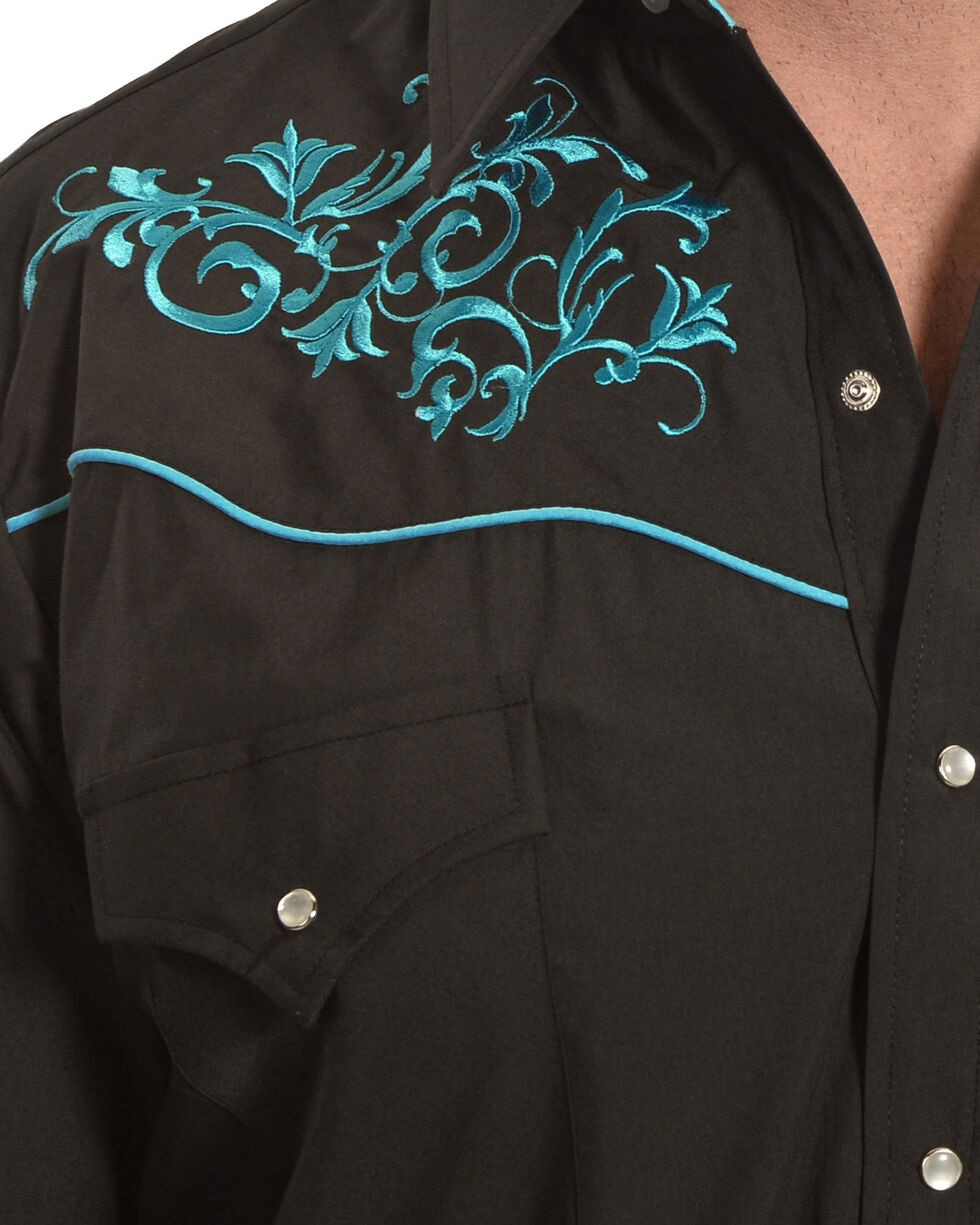 Ely Cattleman Men's Retro Black Embroidered Long Sleeve Western Snap Shirt, , hi-res