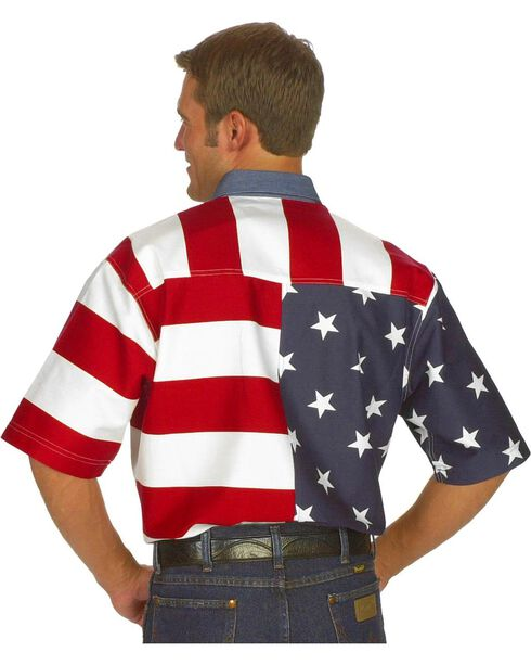 Roper Flag Print Shirt, White, hi-res