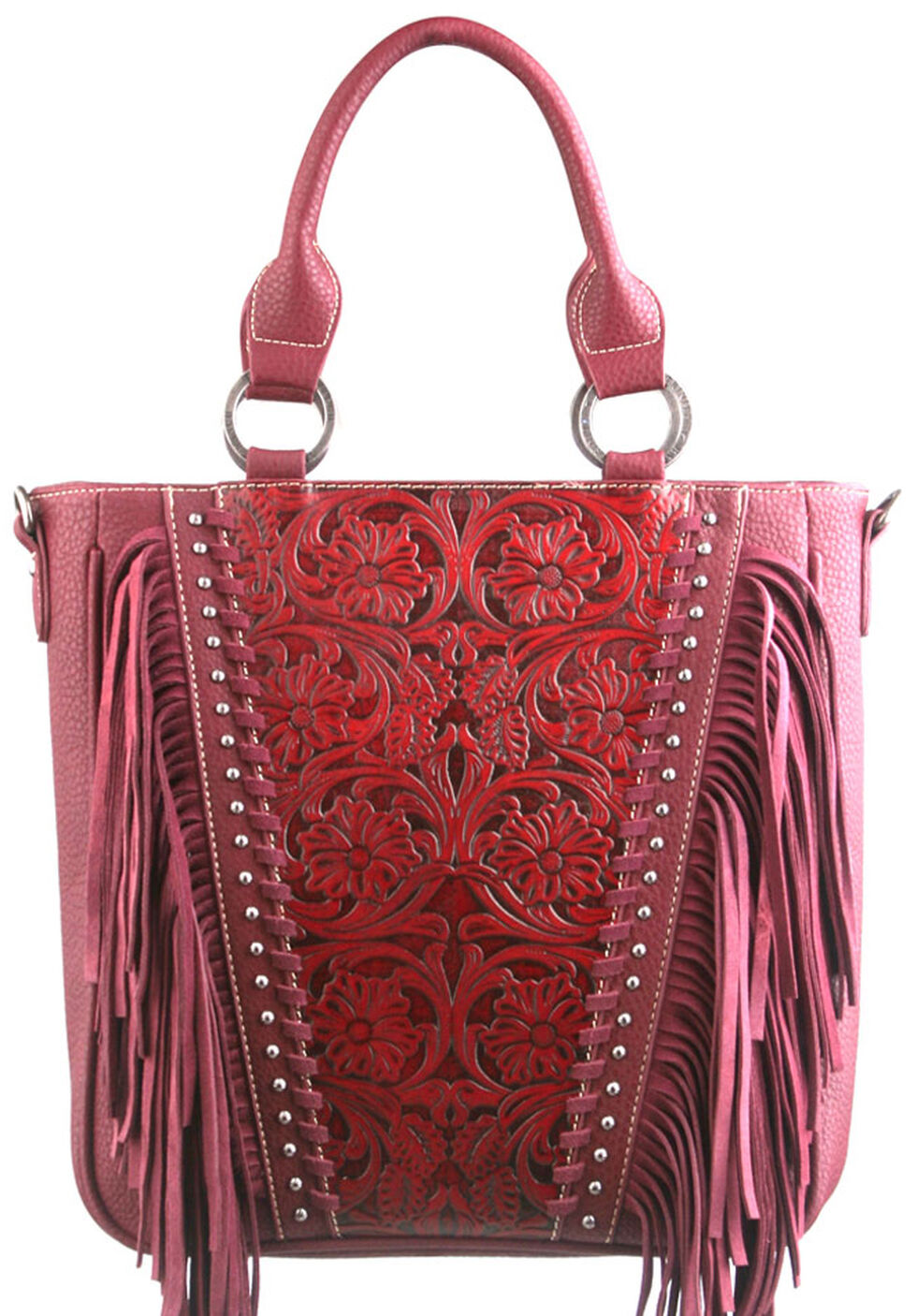 Montana West Trinity Ranch Red Tooled Design Concealed Handgun Collection Handbag, Red, hi-res