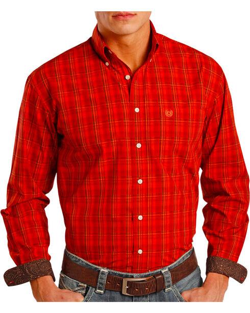 Panhandle Men's Plaid Contrast Long Sleeve Shirt, Rust Copper, hi-res