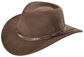 Scala Khaki Wool Felt Leather Band Outback Hat, Khaki, hi-res