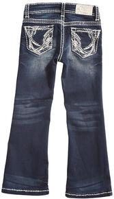 Grace in LA Girls' Dark Wash Abstract Bootcut Jeans , Indigo, hi-res