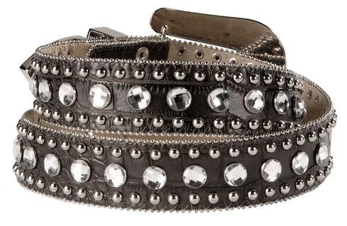 Blazin Roxx Black Croc Print Bling Belt, Black, hi-res