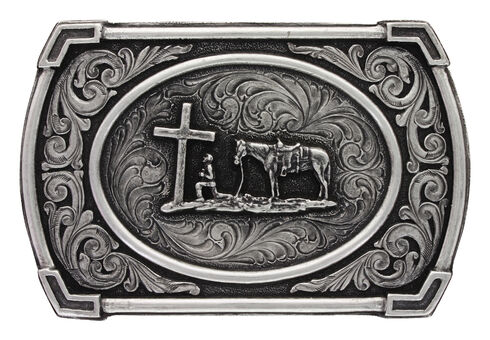 Montana Silversmiths Men's Christian Cowboy Ace in the Whole Belt Buckle, Silver, hi-res