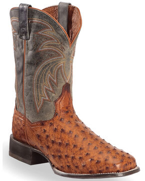 Dan Post Men's Cognac Calhoun Full Quill Ostrich Boots - Square Toe , Cognac, hi-res