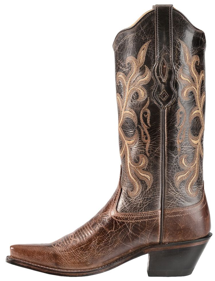 Old West Embroidered & Distressed Cowgirl Boots - Snip Toe, , hi-res