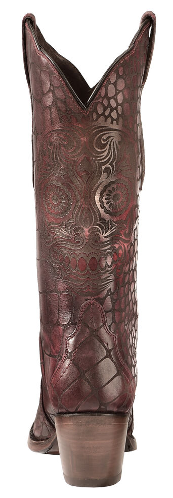 Ariat Red Croc Print Katrina Cowgirl Boots - Snip Toe , Red, hi-res