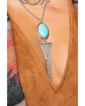 Shyanne Women's Stone Center Gradient Fringe Necklace , Silver, hi-res