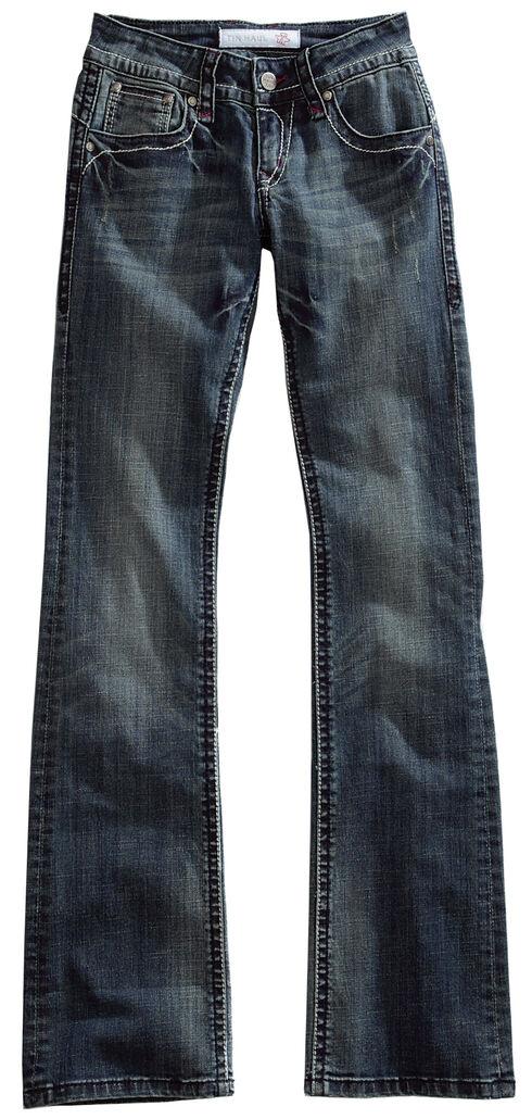 Tin Haul Women's Dolly Celebrity Striped Stitch Bootcut Jeans, Denim, hi-res
